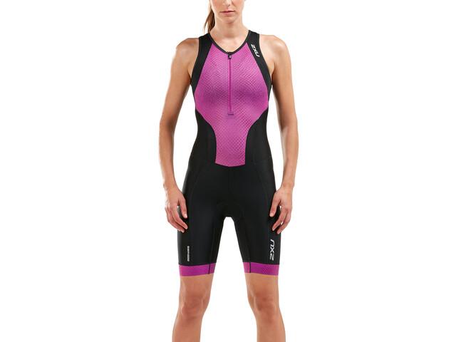 2XU Perform Traje triatlón Cremallera frontal Mujer, black/very berry mesh print